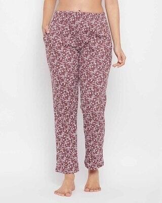 Shop Clovia Print Me Pretty Pyjama in Brown -Front