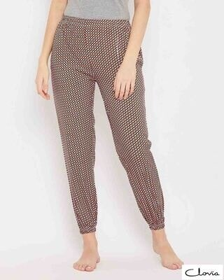 Shop Clovia Print Me Pretty Pyjama in Brown-Front