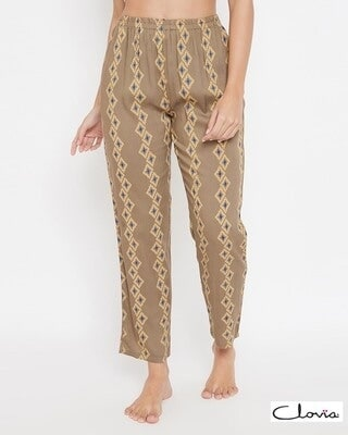 Shop Clovia Print Me Pretty Pyjama in Brown - Rayon-Front