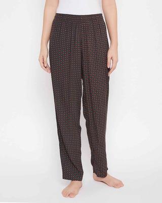 Shop Clovia Print Me Pretty Pyjama in Brown - Rayon-Front