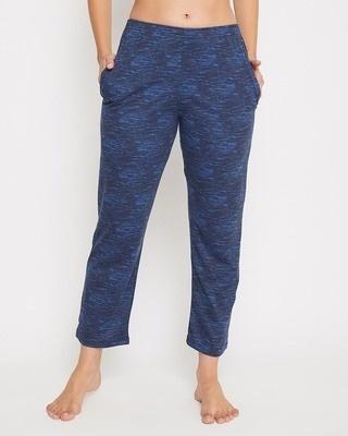 Shop Clovia Print Me Pretty Pyjama in Navy Melange -Front