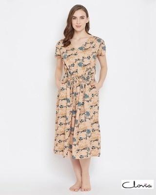 Shop Clovia Print Me Pretty Short Night Dress in Beige- Rayon-Front