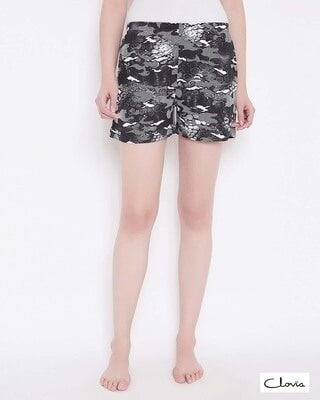 Shop Clovia Print Me Pretty Shorts in Black- Cotton Rich-Front
