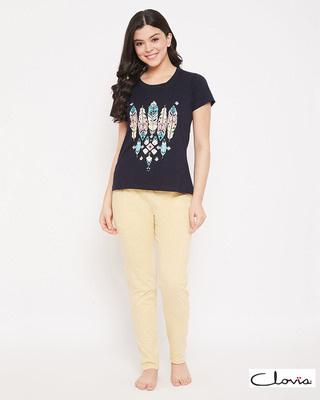 Shop Clovia Print Me Pretty Top & Pyjama in Navy & Beige - 100% Cotton-Front