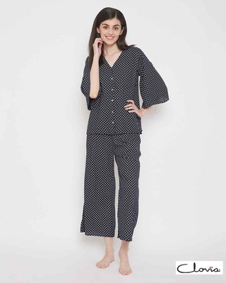 Shop Clovia Print Me Pretty Top & Pyjama Set-Front