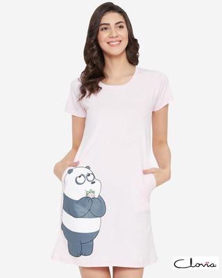 Shop Clovia Printed Short Night Dress in Light Pink - 100% Cotton-Front