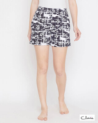 Shop Clovia Printed Shorts in Black- Cotton Rich-Front