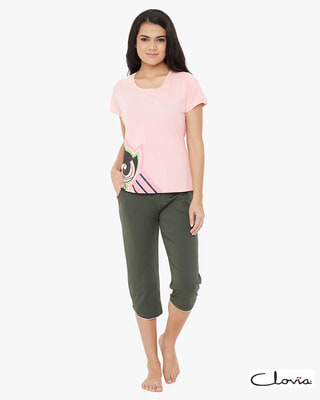 Shop Clovia Printed Top & Capri Set in Pink & Grey- Cotton Rich-Front