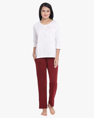 Shop Clovia Printed Top & Pyjama Set In White & Maroon-Front