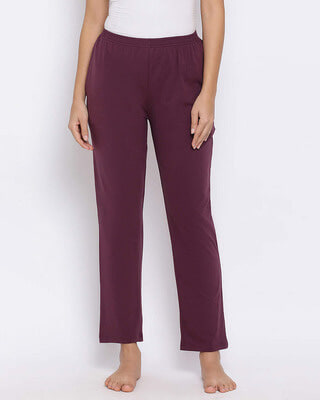 Shop Clovia Pyjama in Purple - Cotton Rich-Front