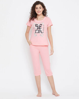 Shop Clovia Quirky Text Top & Capri Set in Baby Pink 100% Cotton-Front