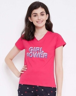 Shop Clovia Quirky Text Top in Red- 100 Cotton-Front