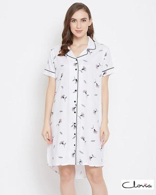 Shop Clovia Rayon Button Down Collar Sleepshirt-Front
