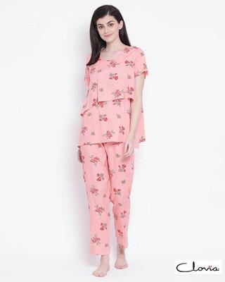 Shop Clovia women Printed Top & Pyjama Set -Front