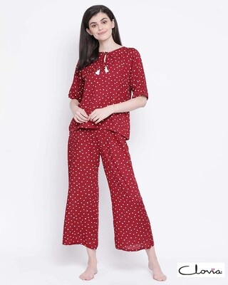 Shop Clovia Rayon Printed Top & Pyjama Set-Front