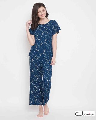 Shop Clovia Rayon Printed Top & Pyjama Set-Front