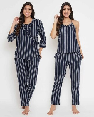 Shop Clovia Rayon Stripes Printed Cami Top & Jacket Pyjama Set-Front