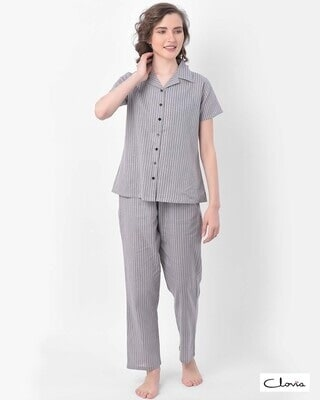 Shop Clovia Sassy Stripes Button Me Up Shirt & Pyjama in Grey- Crepe-Front