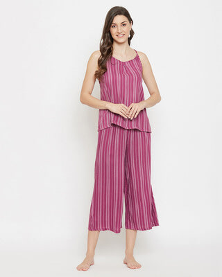 Shop Clovia Sassy stripes Cami Top & Culottes in Dark Pink - Crepe-Front