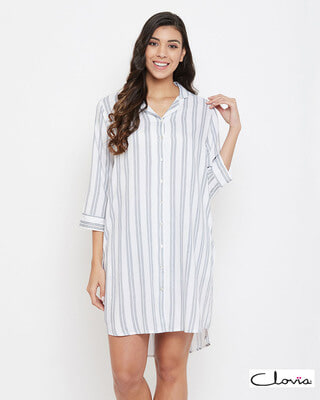 Shop Clovia Sassy Stripes Short Night Dress in White - Rayon-Front