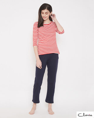 Shop Clovia Sassy Stripes Top & Basic Pyjama Set-Front