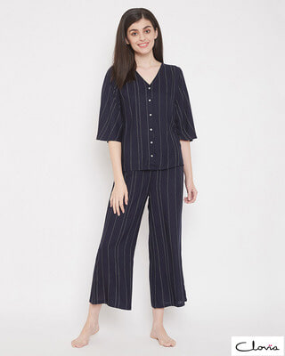 Shop Clovia Sassy Stripes Top & Pyjama Set-Front