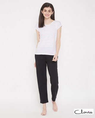 Shop Clovia Sassy Stripes Top & Solid Pyjama in White & Black - 100% Cotton-Front