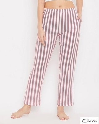 Shop Clovia Sassy Stripes Pyjama in White-Front