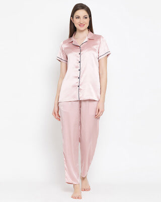 Shop Clovia Satin Shirt & Pyjama-Front