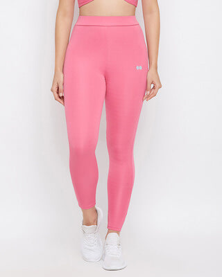Shop Clovia Snug Fit Active Ankle Length Tights in Pink-Front