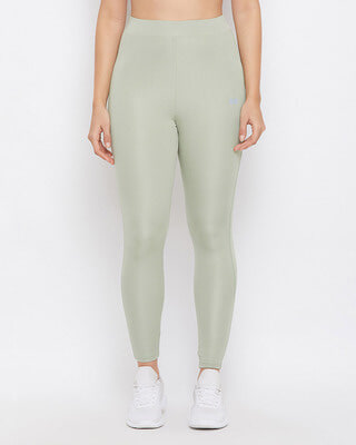 Shop Clovia Snug Fit Active Ankle-Length Tights In Sage Green-Front