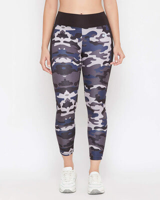Shop Clovia Snug Fit Active Camouflage Print Ankle-Length Tights in Grey-Front