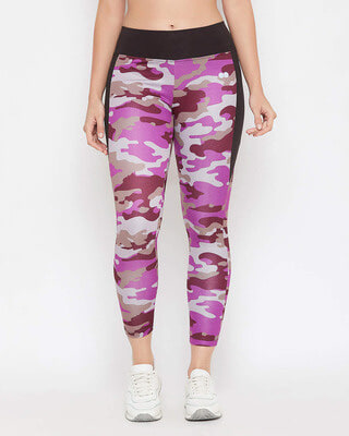 Shop Clovia Snug Fit Active Camouflage Print Ankle-Length Tights in Purple-Front