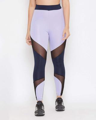 Shop Clovia Snug Fit Active Colourblock Ankle-Length Tights in Lavender-Front