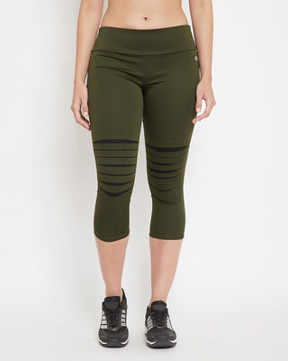 Shop Clovia Snug Fit Active Ripped Capri In Olive Green-Front