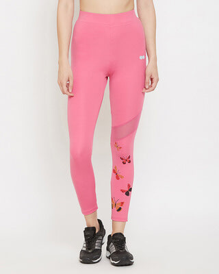 Shop Clovia Snug Fit High-Rise Active Ankle-Length Butterfly Print Tights In Baby Pink-Front