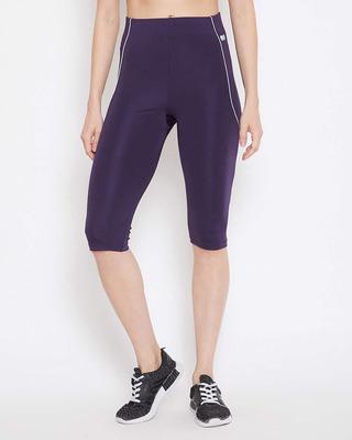 Shop Clovia Snug Fit Mid-Rise Active Capri in Dark Purple-Front