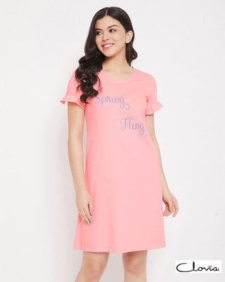 Shop Clovia Text Print Short Night Dress in Baby Pink - 100% Cotton-Front