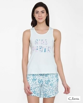 Shop Clovia Text Print Top & Floral Print Shorts Set in Light Blue- 100% Cotton-Front