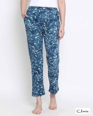 Shop Clovia Tie-Dye Pyjama in Blue- Cotton Rich-Front