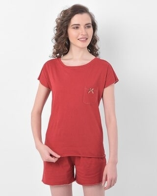 Shop Clovia Top & Shorts Set in Red- Cotton Rich-Front