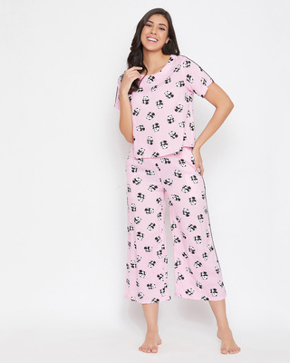 Shop Clovia We Bare Bears Print Cropped Top & Wide Leg Ankle-length Pyjama in Baby Pink-Front