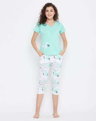Shop Clovia Wild At Heart Top & Capri Set in Green- 100% Cotton-Front