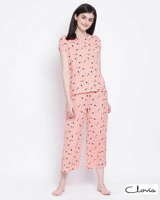 Shop Clovia women Orange Crepe Printed Top & Pyjama Set-Front