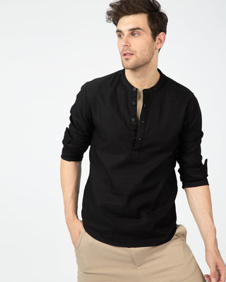 Shop Coal Black Henley Full Sleeve Shirt-Front