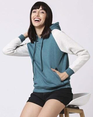 Shop Green Melange Contrast Sleeve Hoodie Sweatshirt-Front