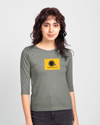 Shop Coffee On My Mind Block Round Neck 3/4th Sleeve T-Shirt Meteor Grey-Front