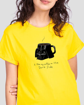 Shop Coffee On The Dark Side Boyfriend T-Shirt (SWL) Pineapple Yellow-Front