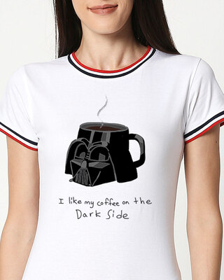 Shop Coffee On The Dark Side Boyfriend Varsity Rib H/S T-Shirt (SWL) Multicolor-Front