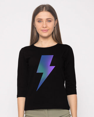 Shop Colorful Bolt Round Neck 3/4th Sleeve T-Shirt-Front